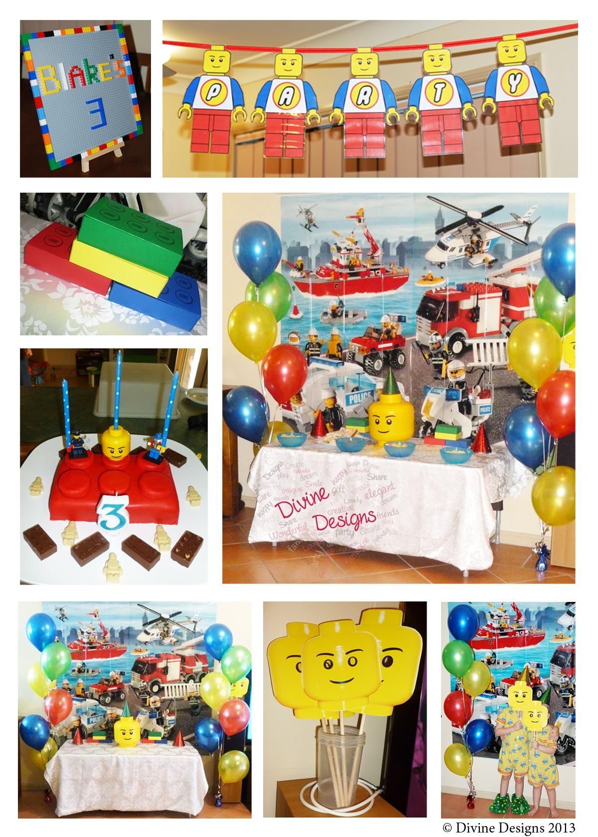 Lego Party Decorations and Favours  © Divine Designs 2013  Goodie box template by www.deliacreates.blogspot.com