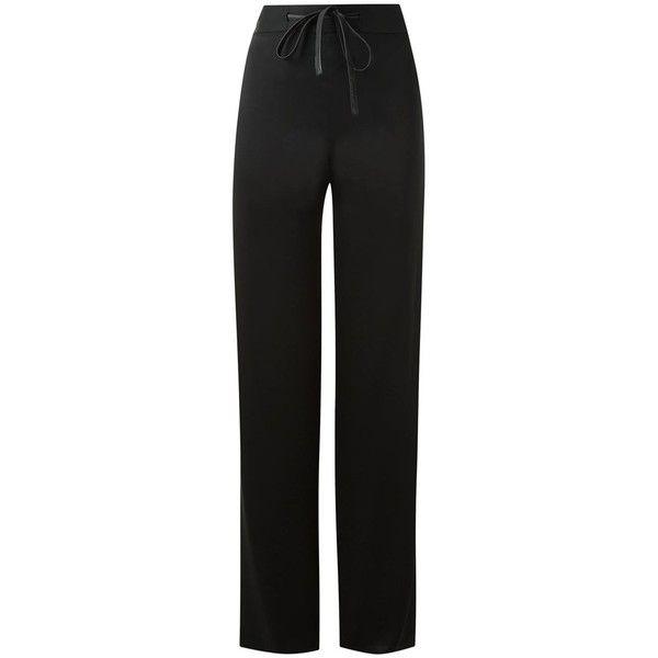 Gloria Coelho straight leg trousers ($334) ❤ liked on Polyvore featuring pants, black, straight leg trousers, real leather pants, leather pants, leather trousers and straight leg pants