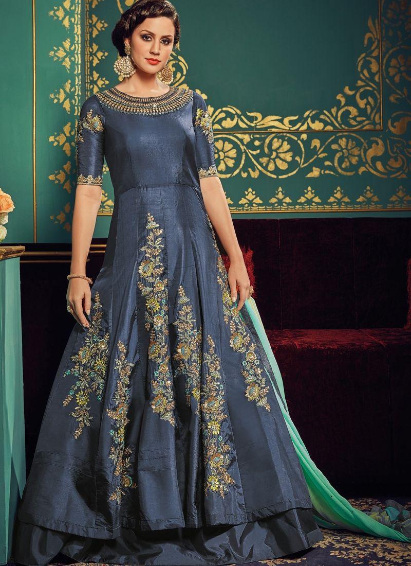 30d16fc973 Nice Grey Paper Silk Floor Length Anarkali Suit