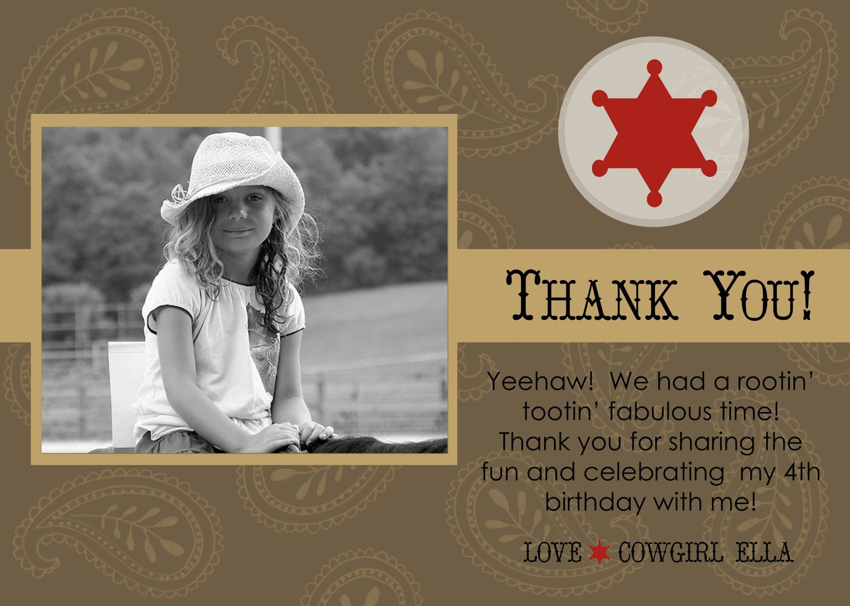 Cowgirl or Cowboy Western Thank You Card by