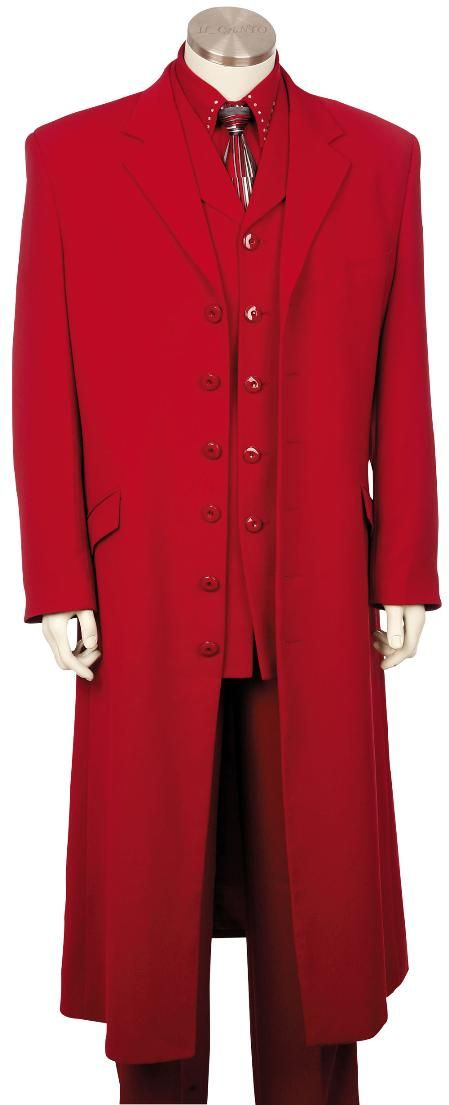 SKU#VW3100 Mens Hot Red 3 Piece Zoot Suit 45 Long Jacket EXTRA ...