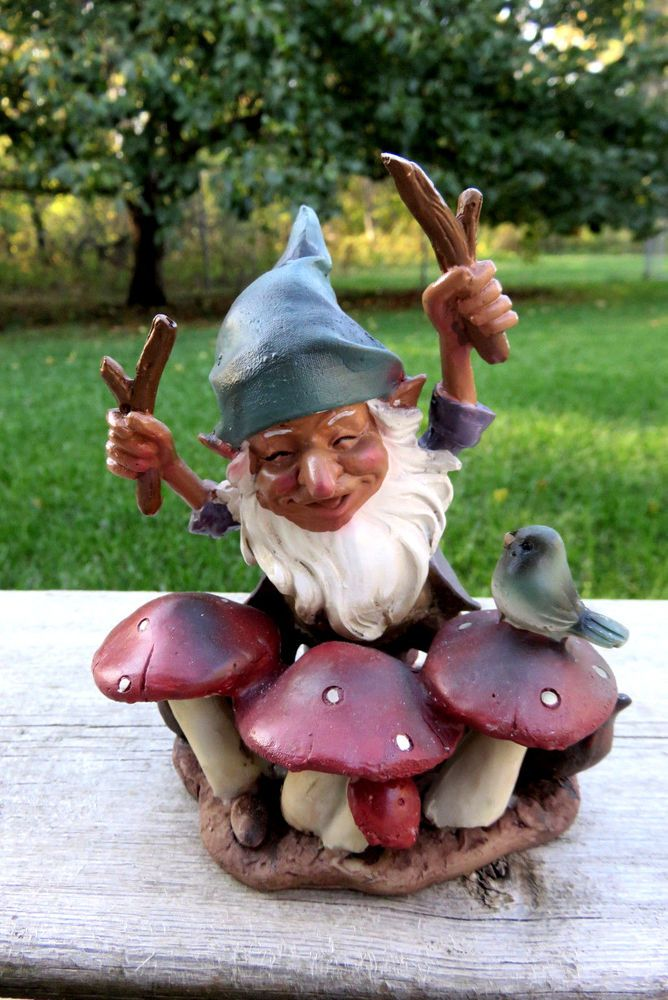 Nome Garden: Garden Gnome Playing The Drums Yard Ornament Statue