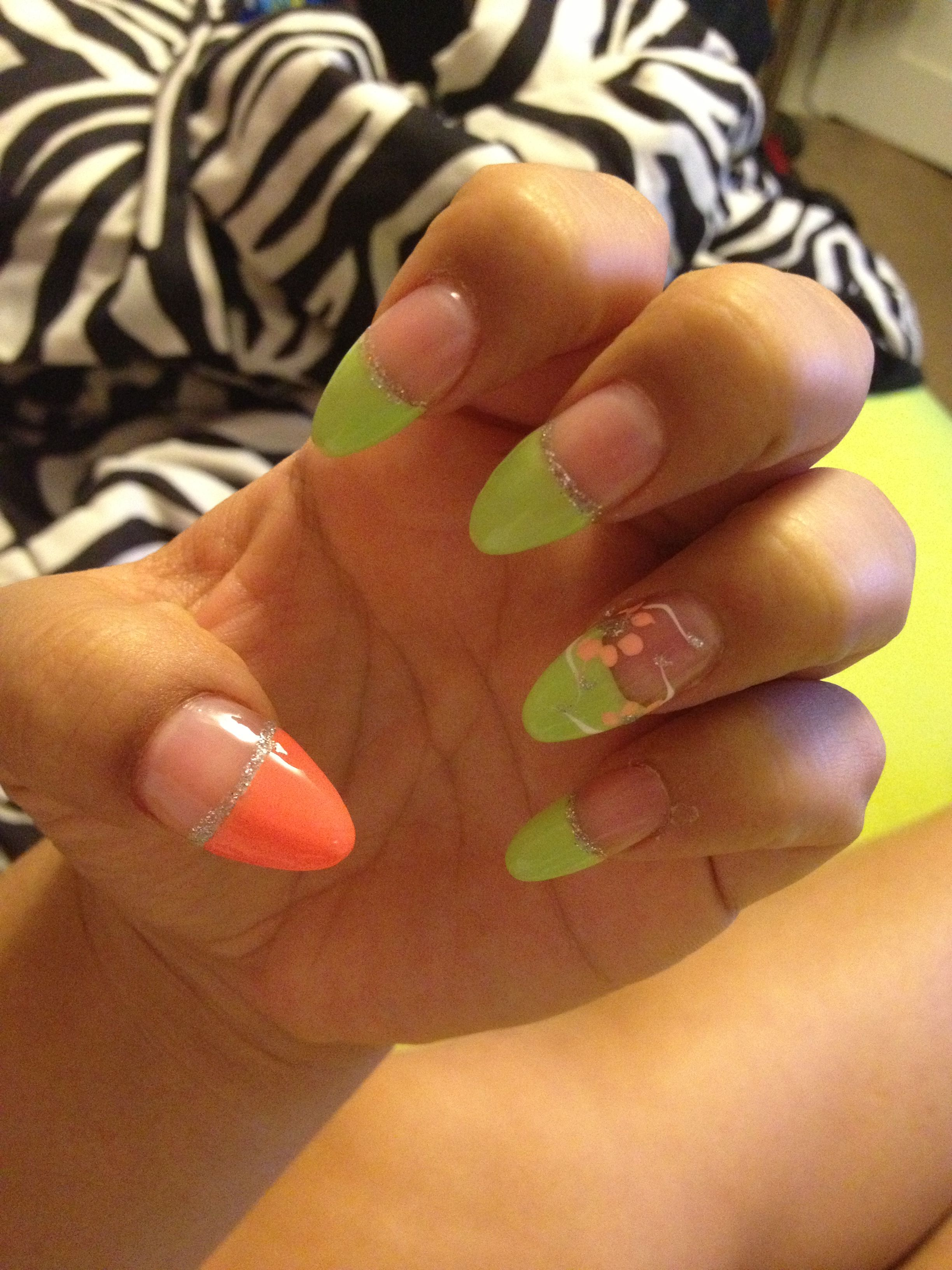 Almond nails with pastel/neon French tips & flower accent design ...