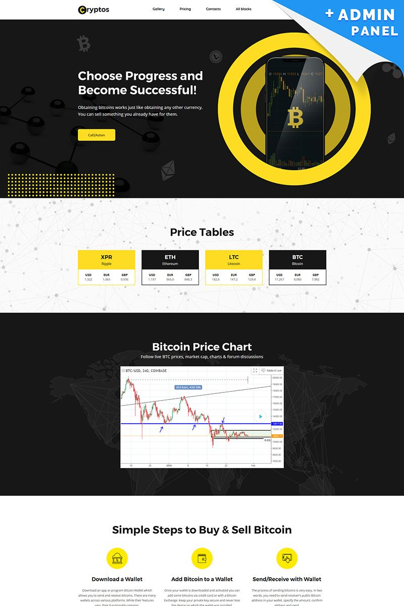 Cryptos - Bitcoin Cryptocurrency MotoCMS 3 Landing Page Template #66370
