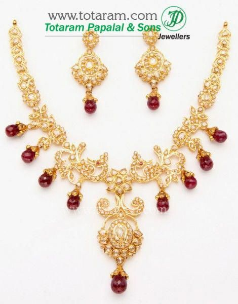 7bd03480e2 22K Gold Uncut Diamond Necklace & Drop Earrings Set With Ruby & Beads - 235-DS264  - Buy this Latest Indian Gold Jewelry D… | ==>> Finest Necklaces ...