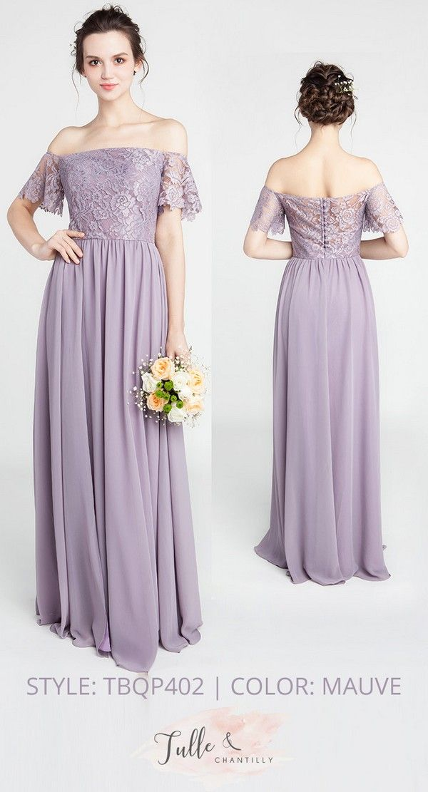 c6bb76beaace lace and chiffon off the shoulder mauve bridesmaid dresses #wedding  #bridalparty #style #bridesmaids