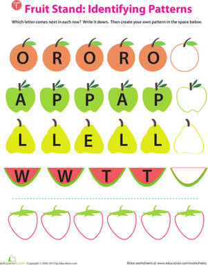 Recognizing Patterns Alphabet Fruit Pattern Worksheet Letter