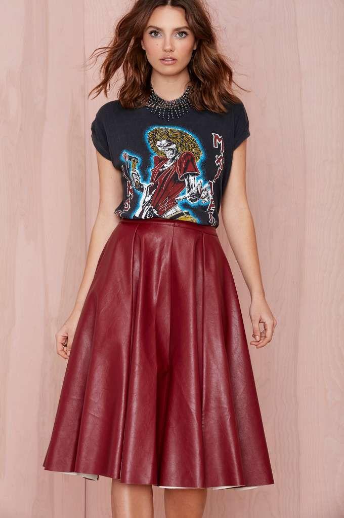 Joa Tara Vegan Leather Skirt - Burgundy | Shop Skirts at Nasty Gal ...