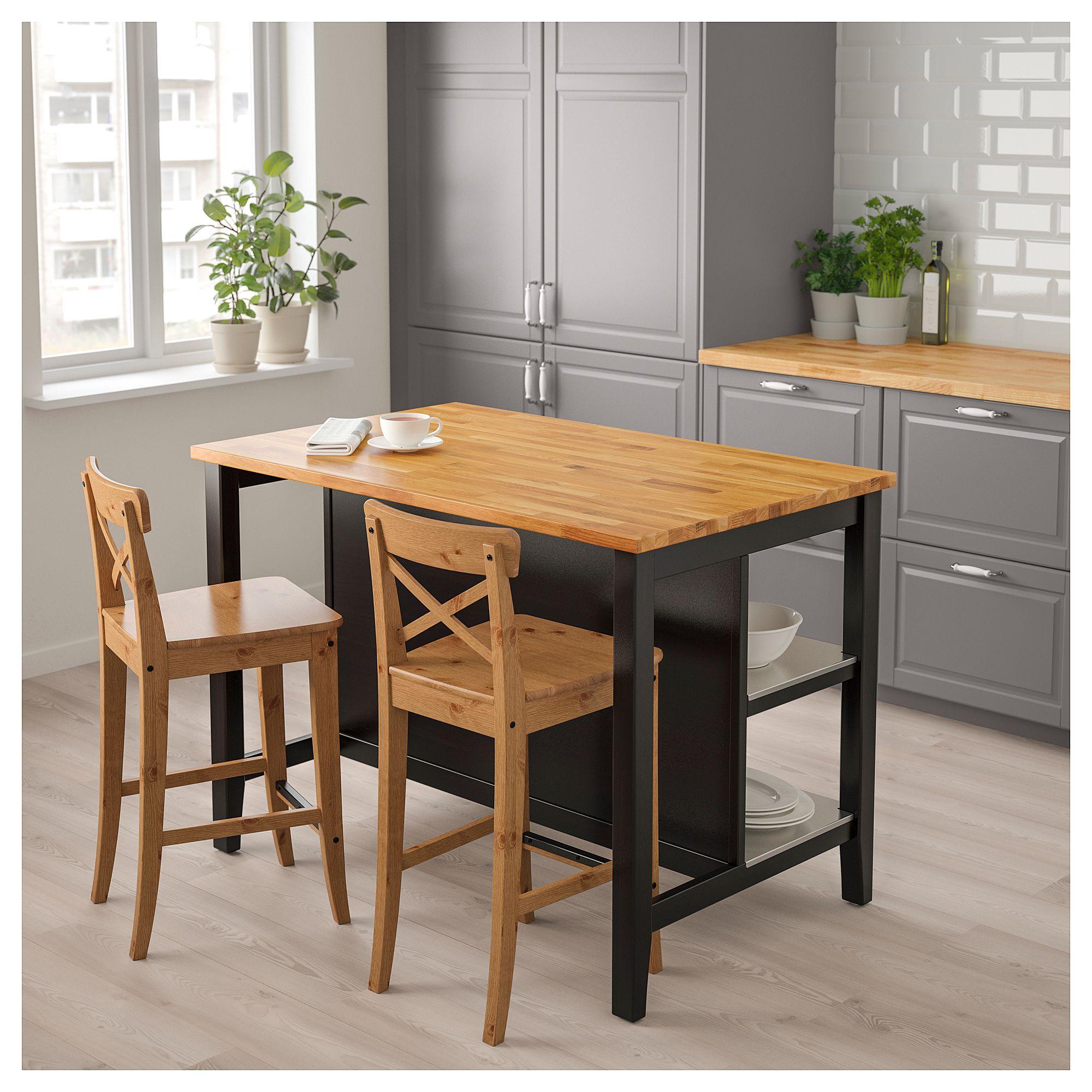 ikea stenstorp kitchen island black brown oak
