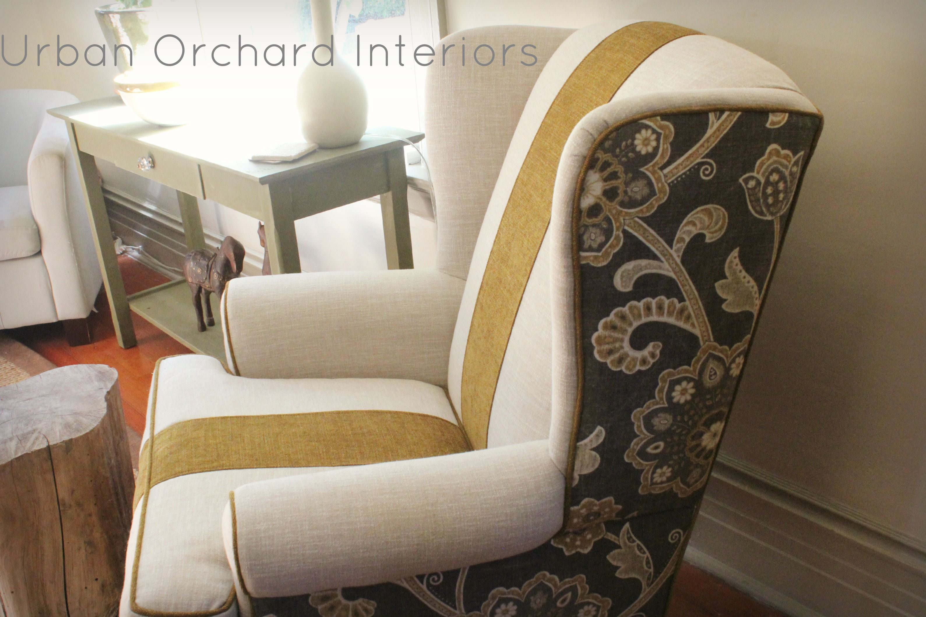 Wingback Chair Side Reupholstery Idea Slipcovers