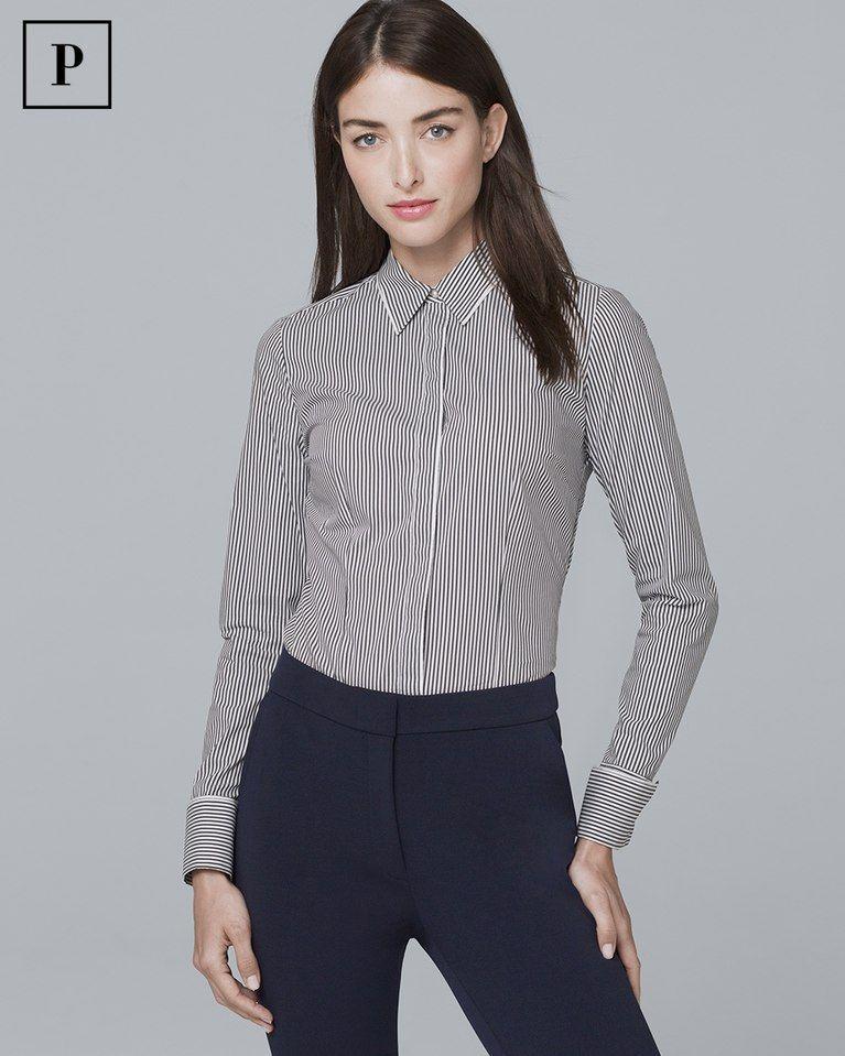 523ab3d80ac1be Women's Petite Striped Poplin Shirt by White House Black Market ...