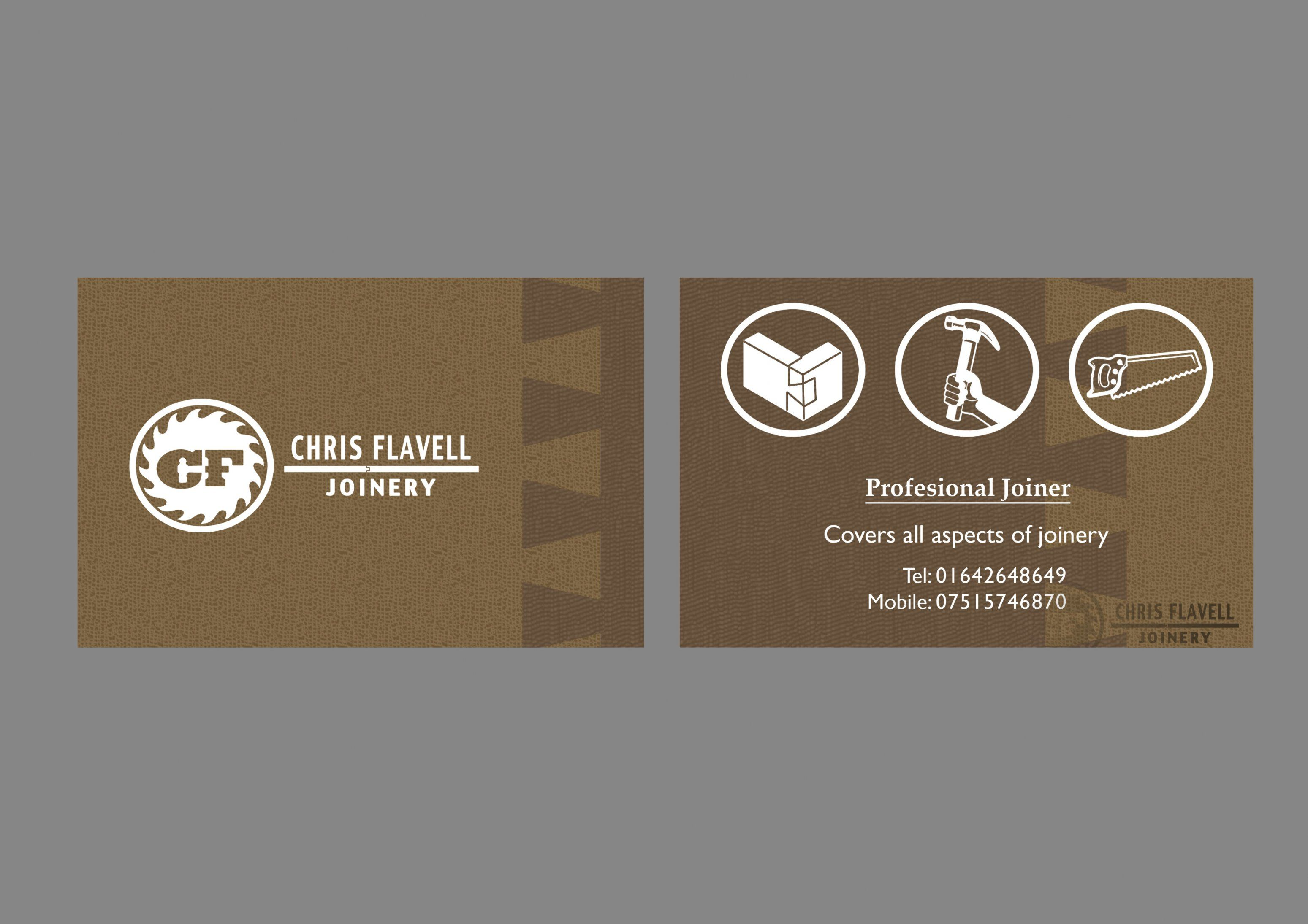 Business card design for a woodworking company business