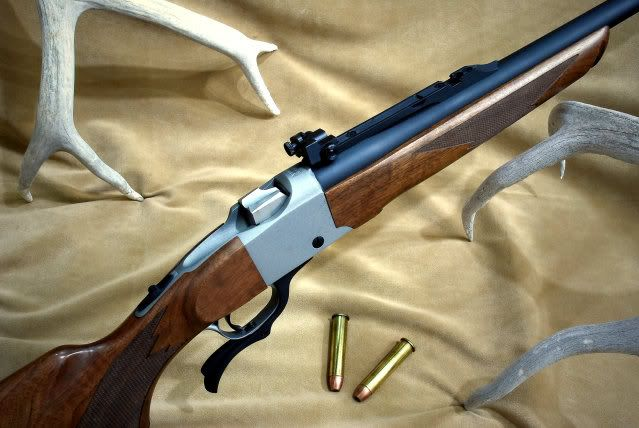 Ruger Number One in .45-70 with peep sights and stainless receiver.