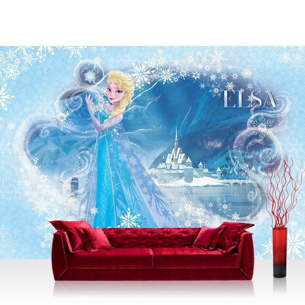 Fototapete X Cm Premium Wand Foto Tapete Wand Bild Papiertapete Disney Tapete Eiskonigin Frozen Kindertapete Cartoon Prinzessin Elsa Blau