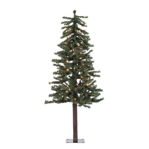4 ft Pre-Lit Natural Alpine Christmas Tree - Clear Lights