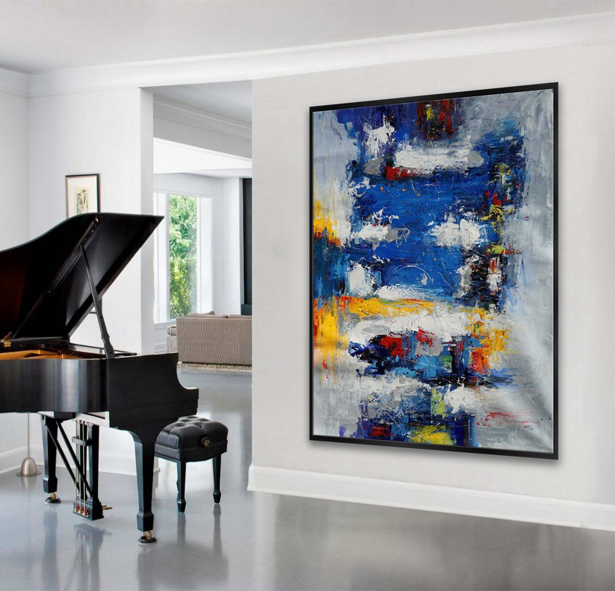 Extra large palette knife acrylic painting on canvas