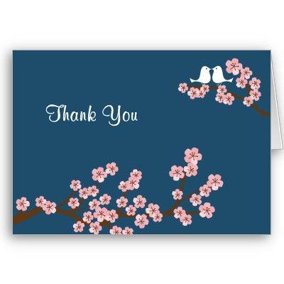 Cherry Blossom Garden Navy Wedding Thank You Cards from http – Zazzle Wedding Thank You Cards