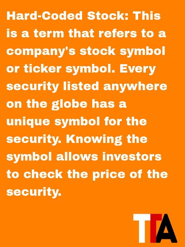 Definition Of The Day Hard Coded Stock This Is A Term That Refers