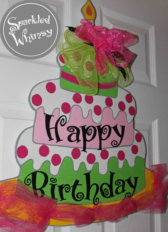 Personalized Birthday Cake Door Hanger Sign By Sparkledwhimsy