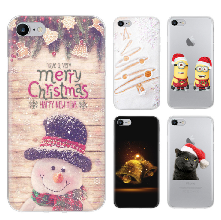 Christmas series pattern case for apple iPhone 7 6 6s Plus 5 5s SE 4 4s colorful Soft Silicone TPU back cover Protective shell