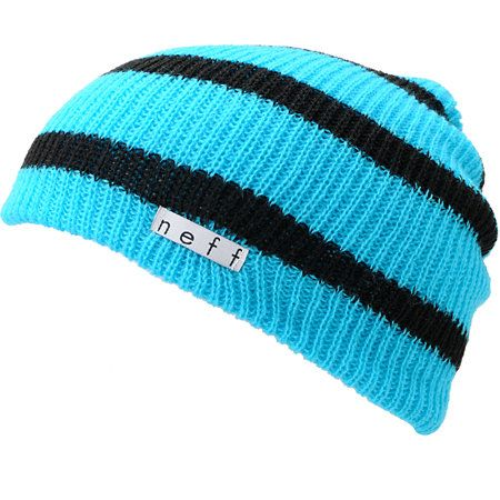 d8997ac1c86 The Neff Daily slouch beanie is the ultimate in classic head wear. This  cyan blue and black stripe Neff beanie is extra soft with a slightly ribbed  knit ...