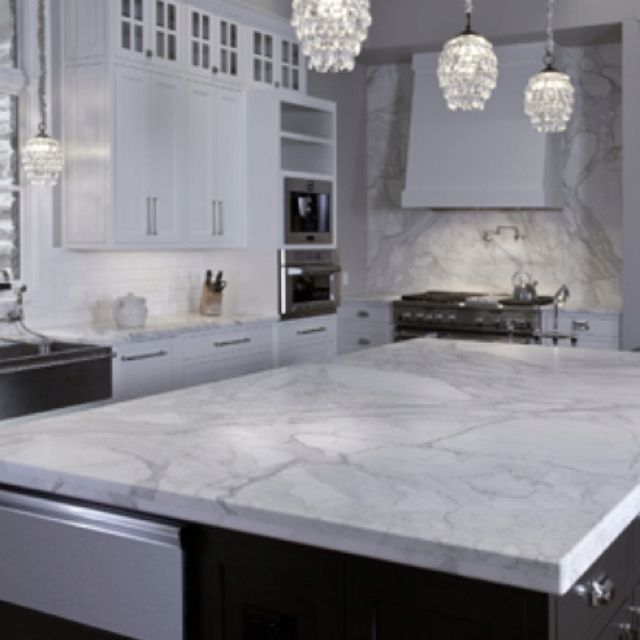 White Carrera Quartz Contemporary Kitchen Kitchen Marble
