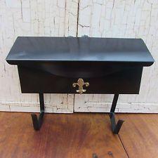 Vintage Black Mailbox Metal Gold Fleur De Lis With Newspaper Holder Wall Mount Vintage Mailbox Home Decor Newspaper Holder
