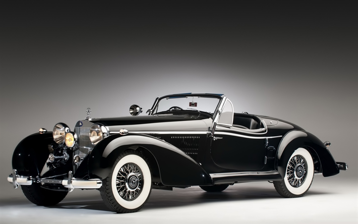 Download Wallpapers Mercedes Benz 540k 1937 Roadster Retro Cars Black Cabriolet Old Classic Cars Mercedes Besthqwallpapers Com Classic Cars Vintage Retro Cars Wallpaper Mercedes Benz