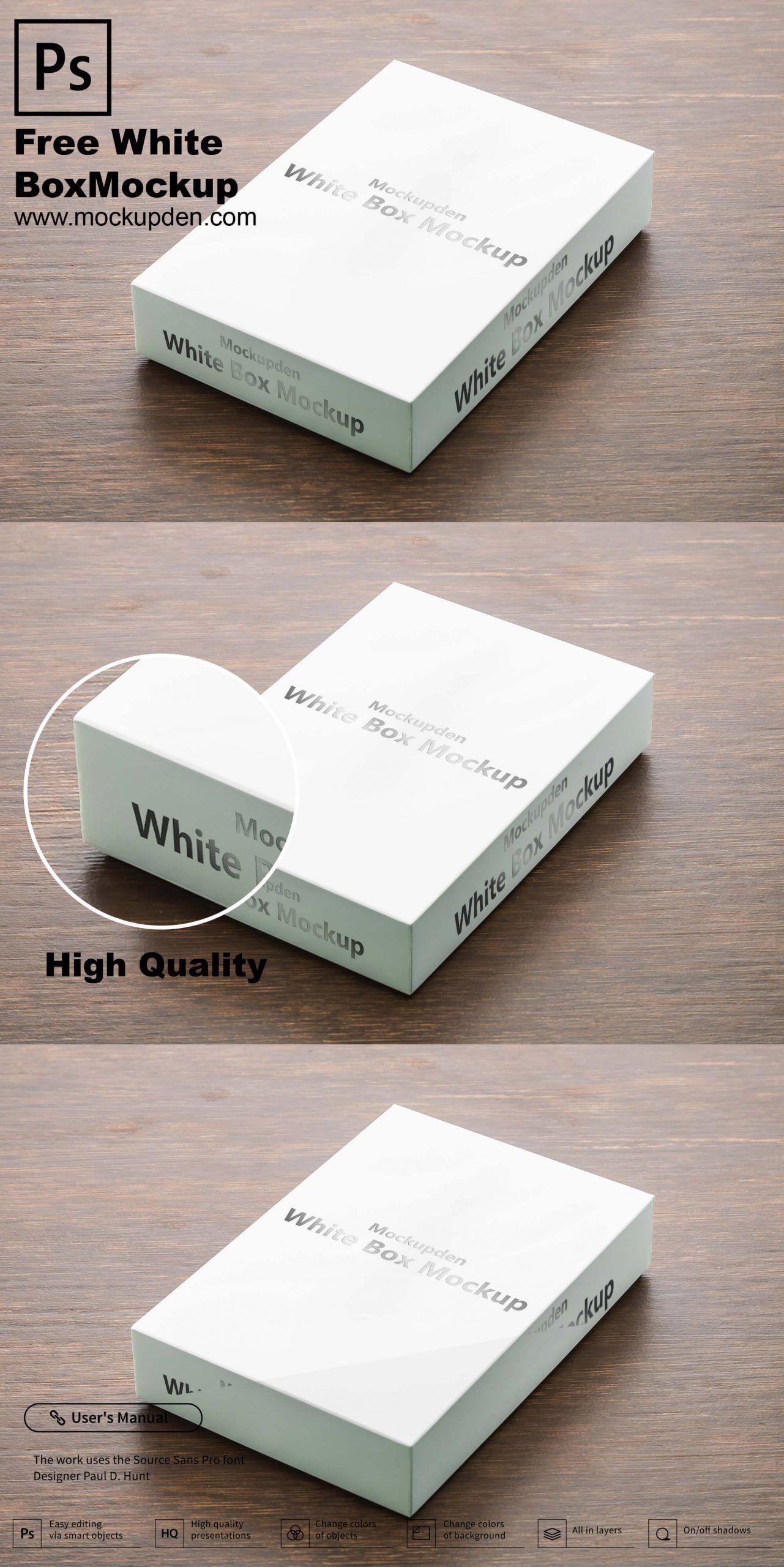 Download Free White Box Mockup Psd Template Box Mockup Box Design Templates Mockup Psd