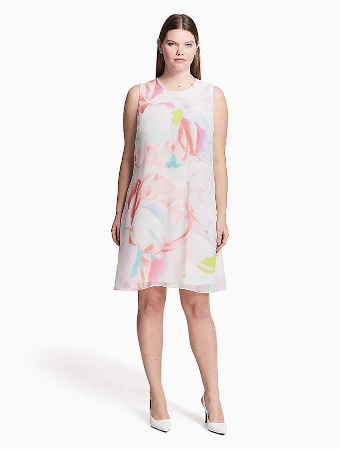 0850231cb8e8 Calvin Klein Plus Size Floral Chiffon Trapeze Dress   Products ...
