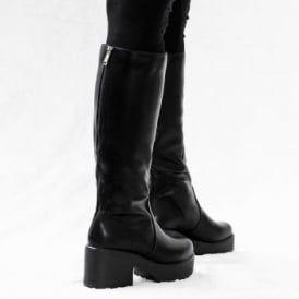 eab65e78bde ROCKFORD Platform Block Heel Knee High Biker Boots - Black Leather Style