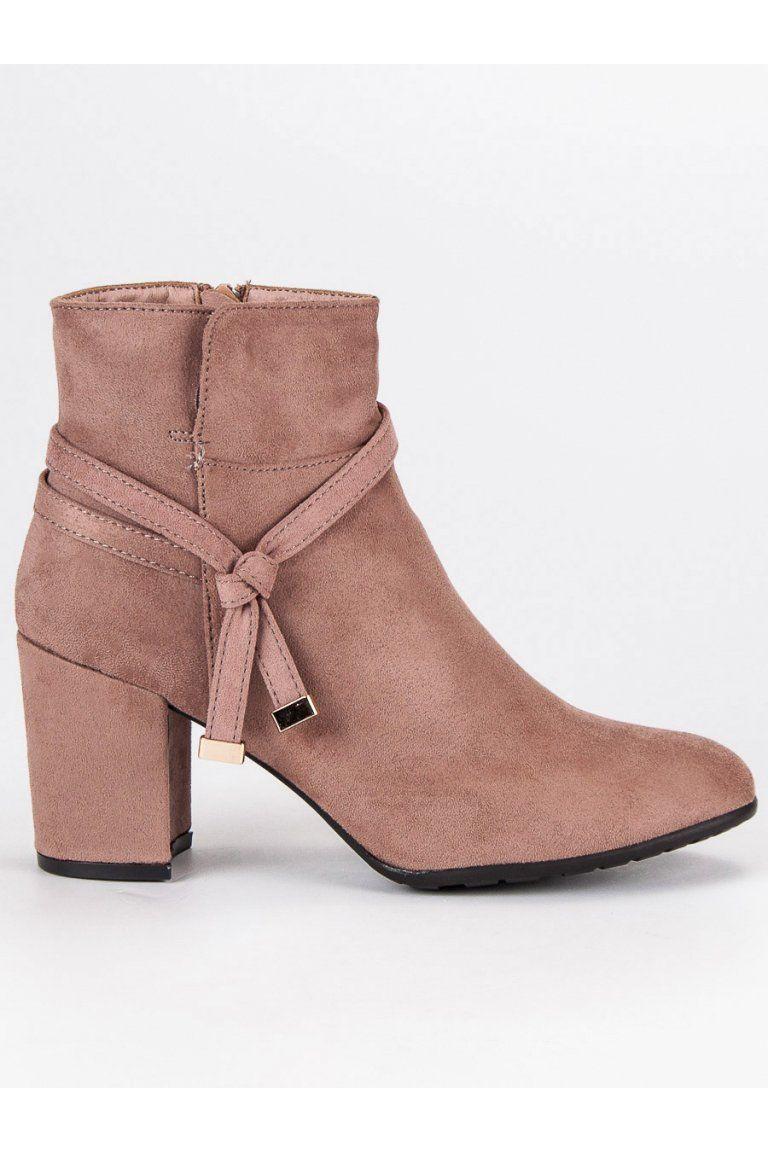 035cfd90a540a Semišové topánky ružové členkové čižmy s ozdobou CnB | Topánky - NAJ ...