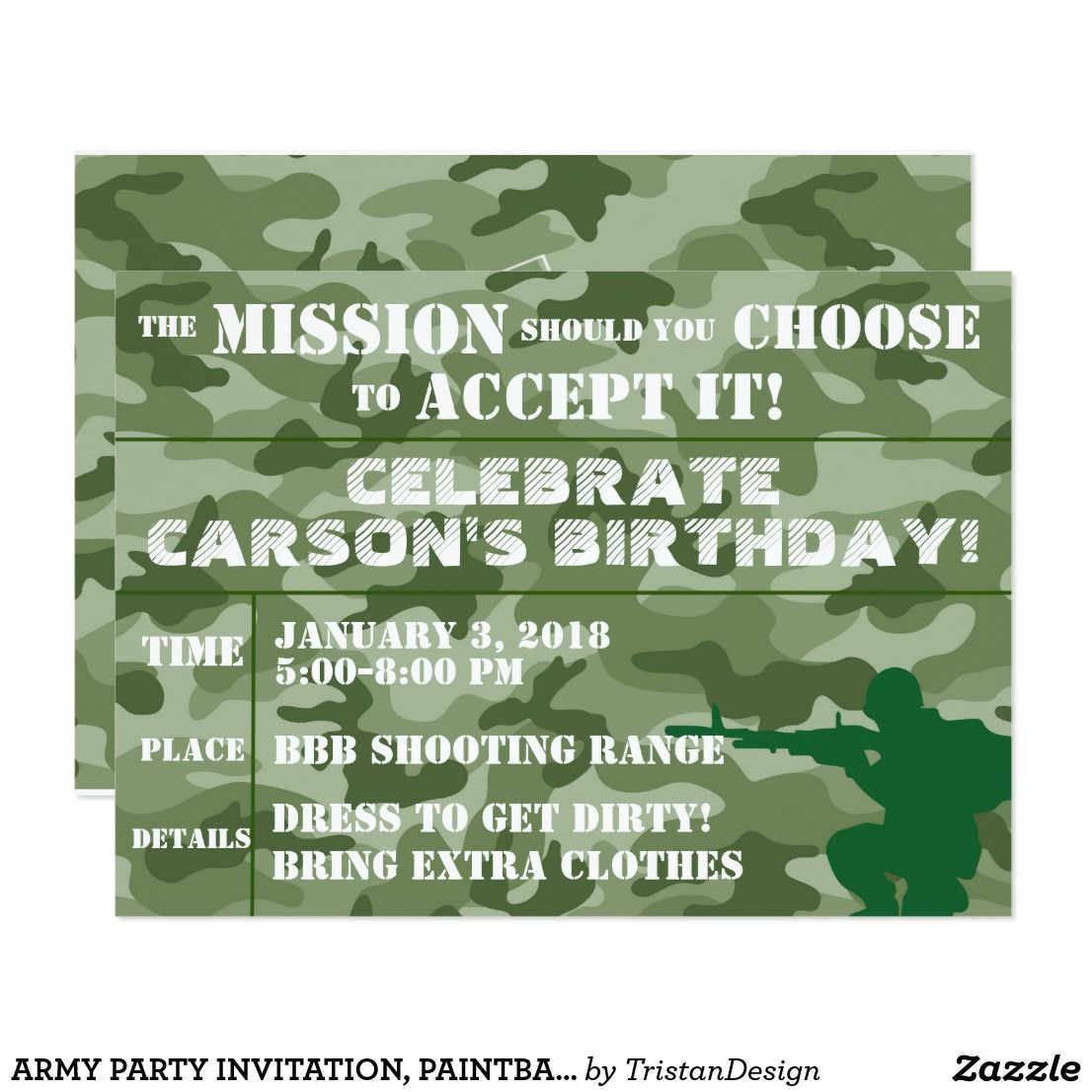 Army party invitation, paintball party invitation | Army party and ...