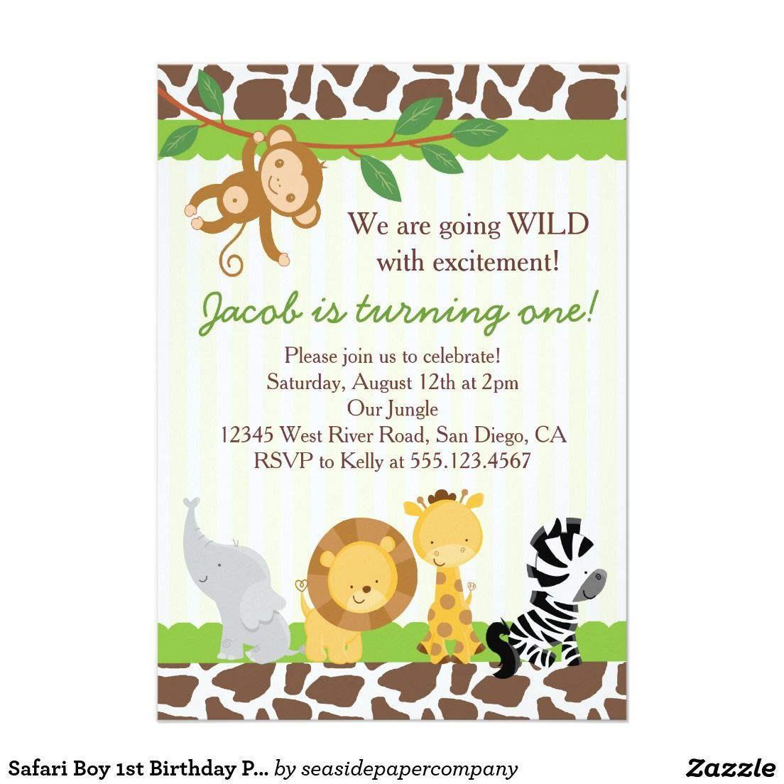 Safari Boy 1st Birthday Party Invitation Mummu Pinterest Baby