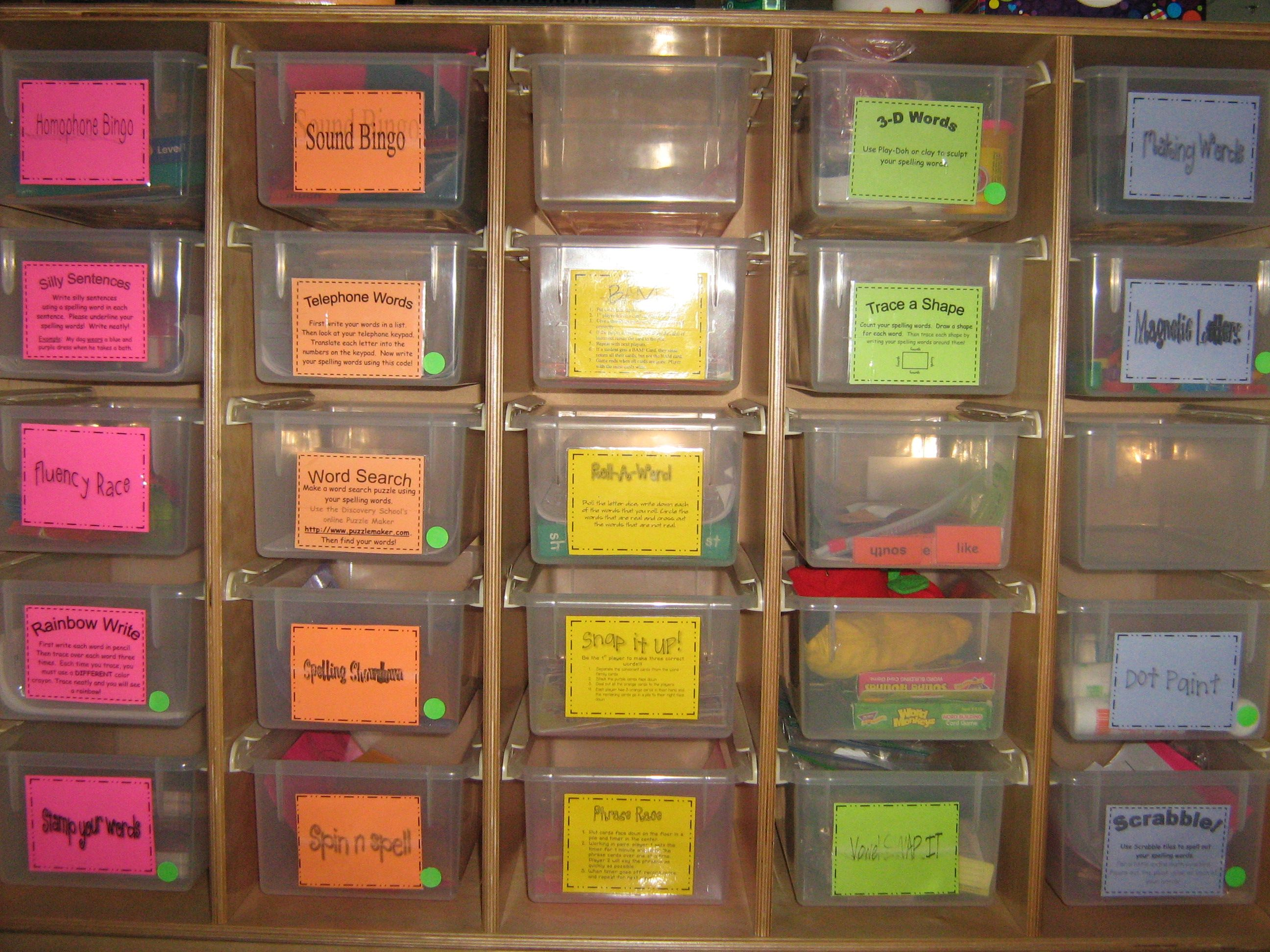 Organize Daily 5 Word Work Activities So Students Can