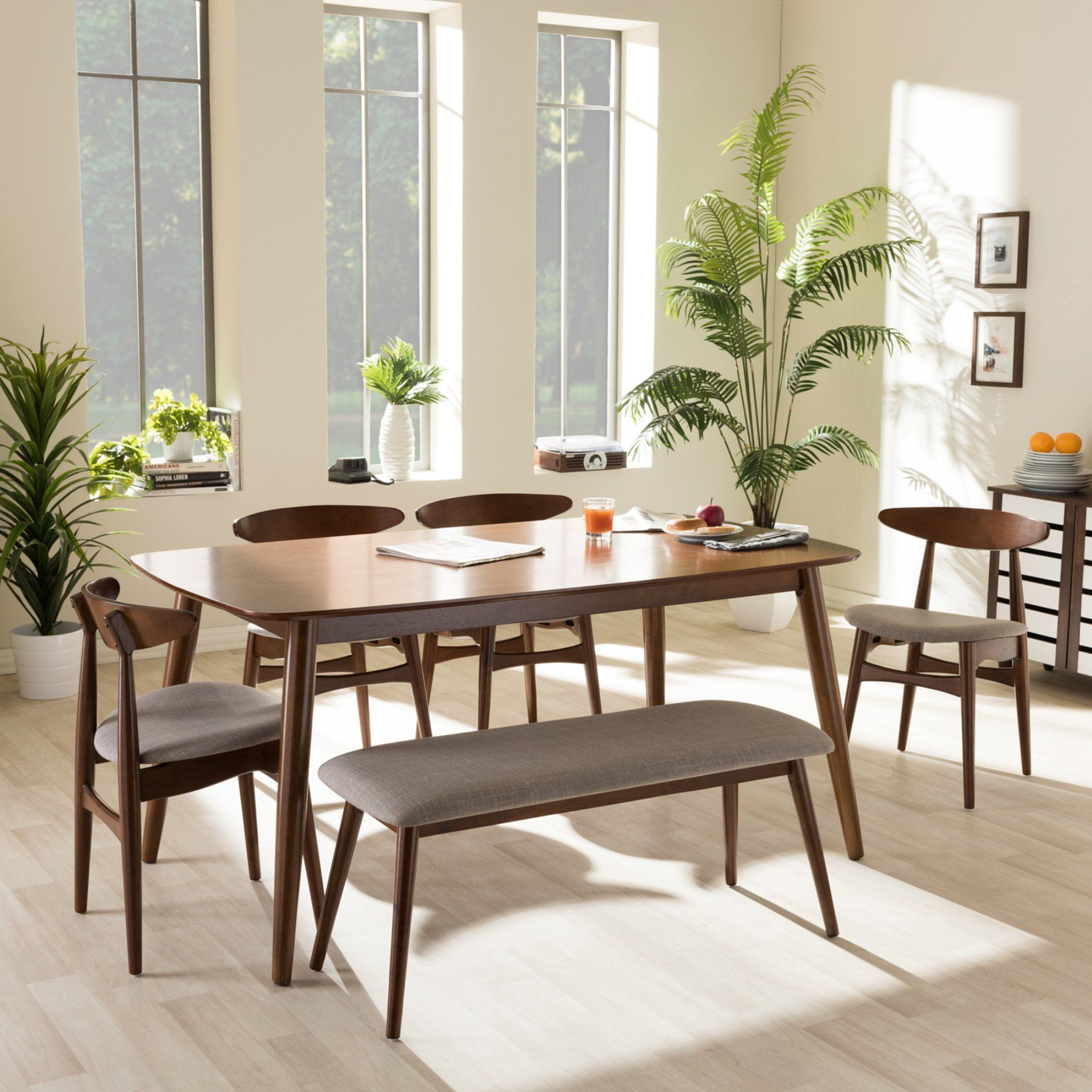 Outstanding Transitional Dining Room Suitable For Any Home: Baxton Studio Flora 6 Piece Dining Table Set