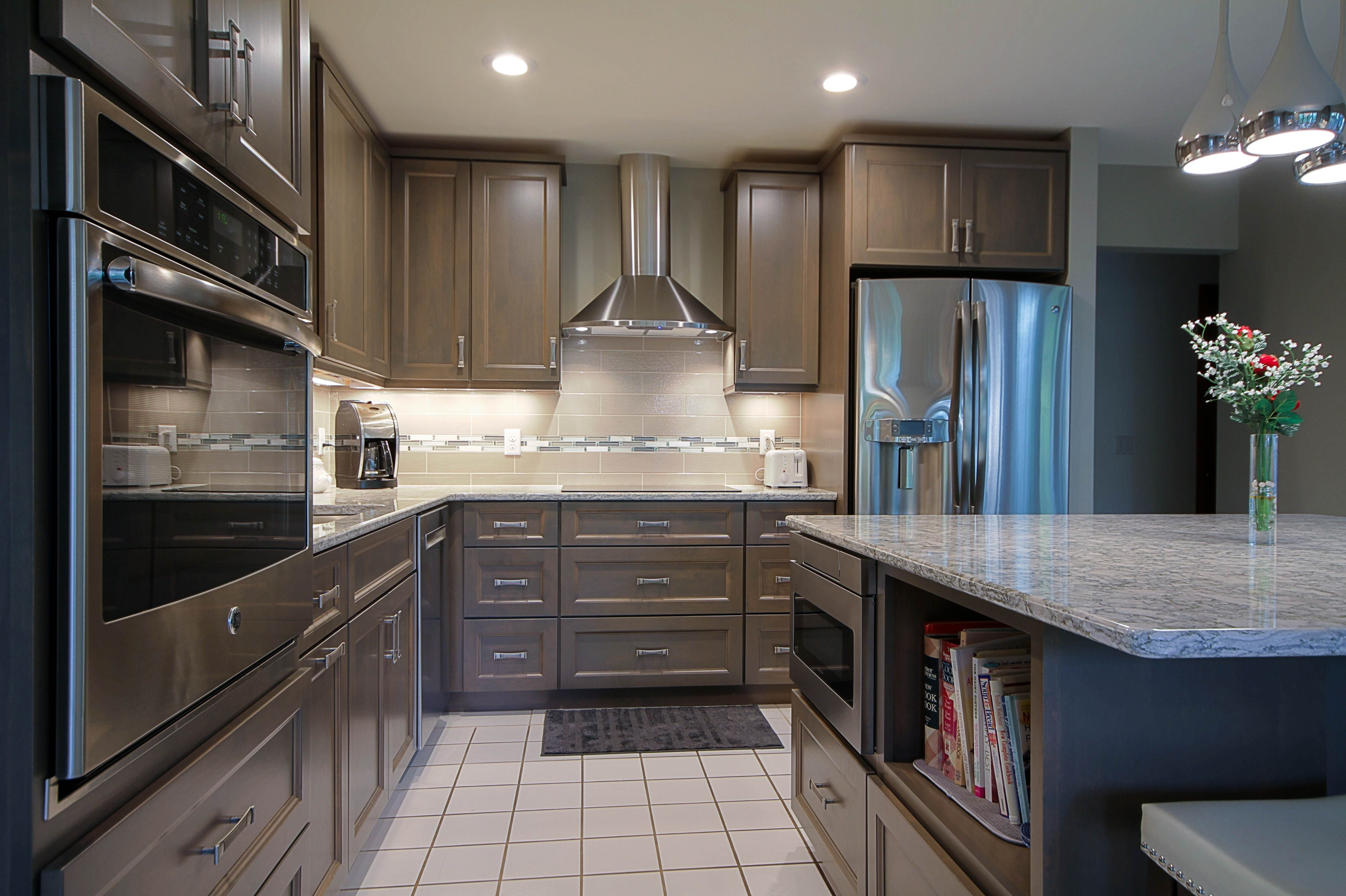 Brown Grey kitchen cabinets Cambria Berwyn countertops