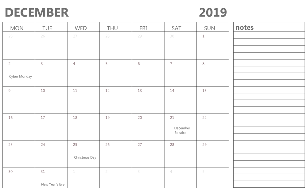 Free December 2019 Calendar With Holidays Printable Template With