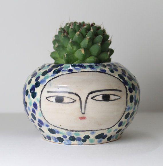 Face Plant Pot Part - 39: Bluish-Polka-Dot-Pot - Two Faces - Ceramic Plant Pot -.