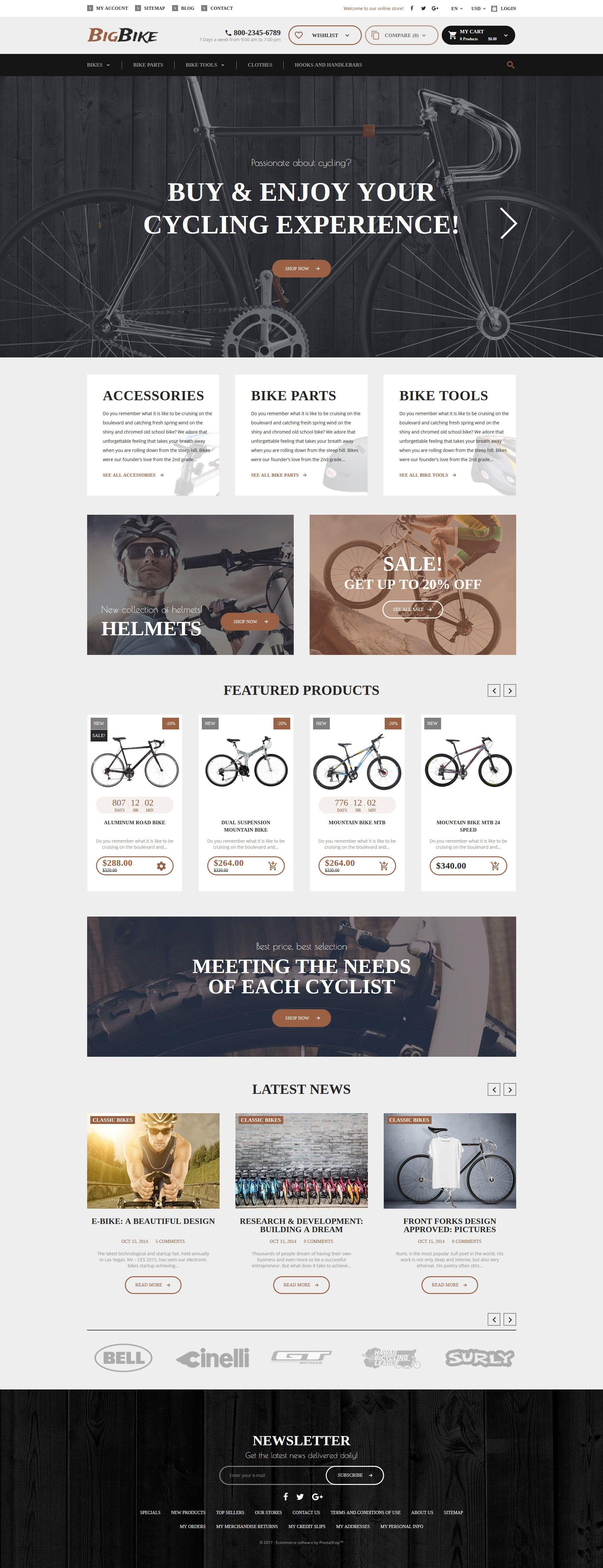 BigBike - Bike Shop Responsive PrestaShop Theme | Bike shops ...