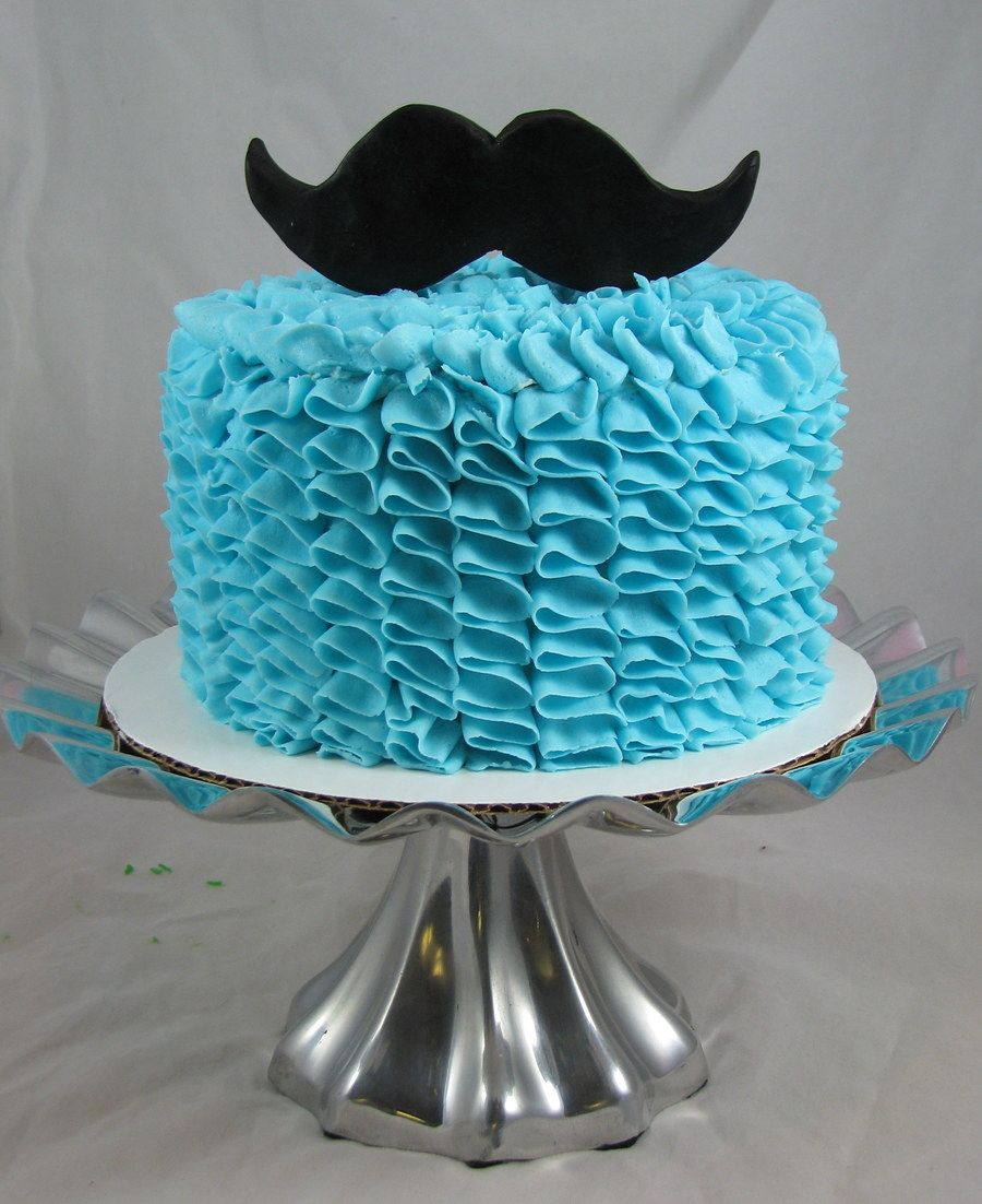 Blue Ruffle Mustache Cake Little man baby shower Pinterest