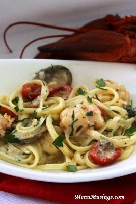Lobster Linguine with Cognac Cream Sauce.  Step-by-step photo tutorial to making this decadent dish.  Or substitute your protein of choice.