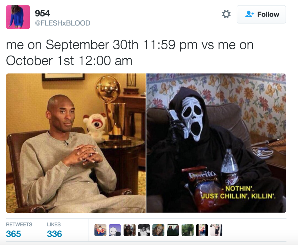 17 Of The Funniest Tweets About September 30th Vs October 1st Funny Tweets Halloween Memes October Memes
