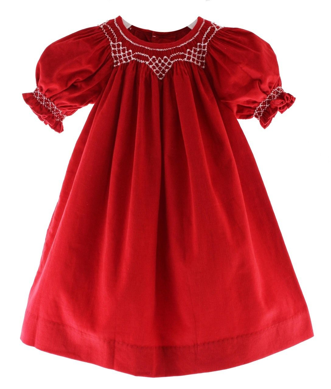 Hiccups Childrens Boutique - Girls Red Smocked Christmas Bishop