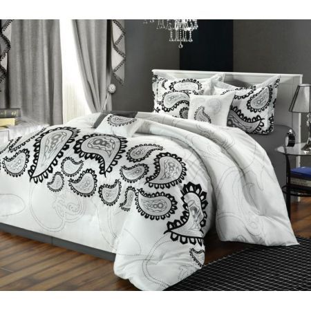 8-Piece Taj Flocked Paisley Comforter Set  $139.99 Set includes: Comforter, Bedskirt, Two Shams, 4 Decorative PillowsM...