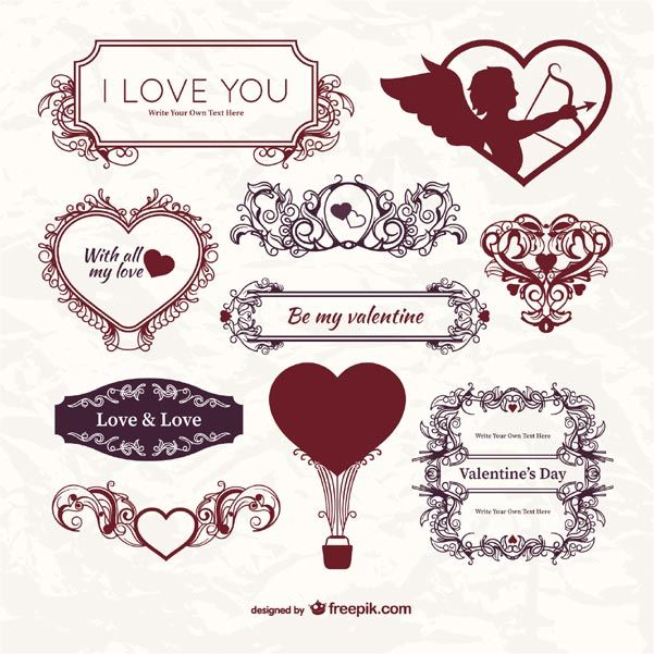 Vector Vintage ValentineS Day Label Template Ornaments Floral