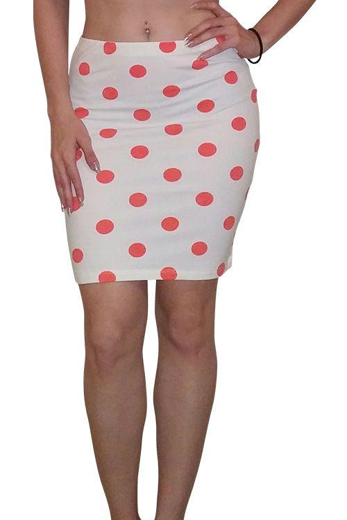 Pencil Skirt! 92% Cotton. White with Orange Polka Dots. - 5dollarfashions.com