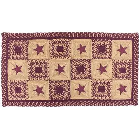 Country Star Rectangle Braided Rug Primitive Black And Tan
