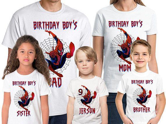 6ef9b96f Spider-man Birthday Shirt Add Name & Age Spiderman Custom Birthday Party  TShirt 01