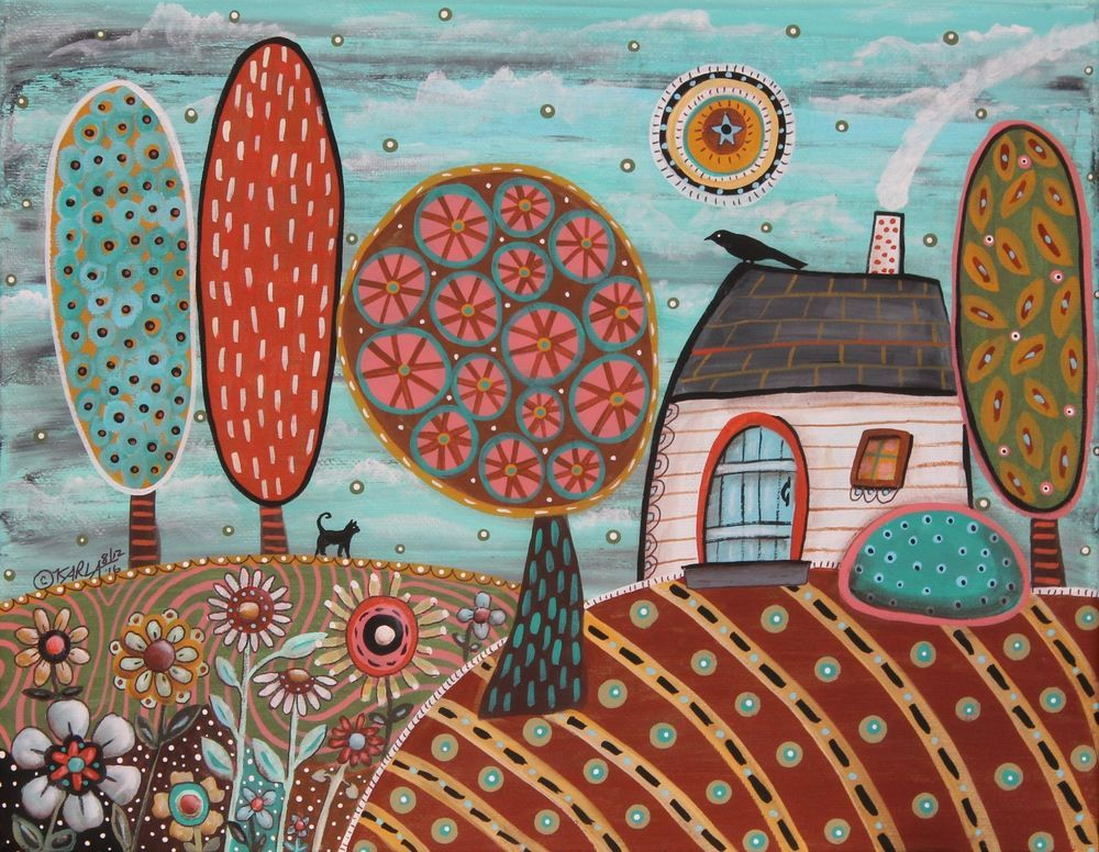 White Cottage 11x14inch ORIGINAL CANVAS PAINTING houses trees Folk Art Karla G #FolkArtAbstractPrimitive